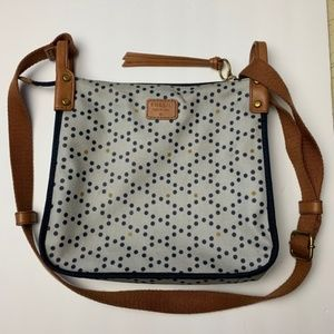 Fossil Keyper Blue Dots Coated Canvas Crossbody